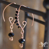 Copper Marquise Earrings w/Jet Black Crystals from A Single Dream