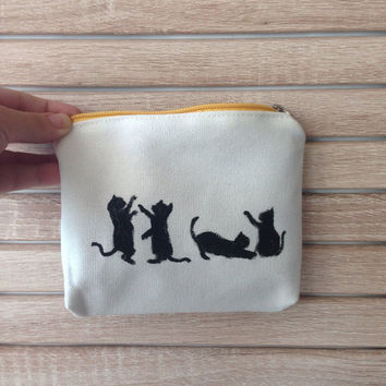 Cats in Play -  Zipper Pouch, Hand Illustrated Pouch, Gift for Cat lover, Purse, Monochrome, Coin Purse, gifts under 15, kitty, cat, kitten