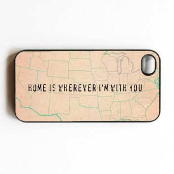 iphone 4 case Home Is Wherever I'm With you by MursBlanc on Etsy