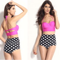 Retro Polka Dot Pink Top Swimsuit Bikini