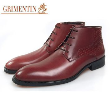 GRIMENTIN  leather italian lace up brown formal ankle boots