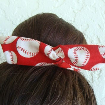 "Softball Baseball Wire Bun Wrap, Top Knot Wire Wrap Red Baseball Mini"" Dolly Bow Wire Headband Ponytail Hair tie Hair Bun Tie Wrap"