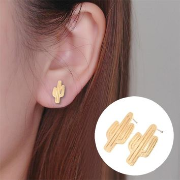 2016 New Fashion Cactus Post Earrings for Women Small Cactus Stud Earrings Party Gift Cute Plant Studs
