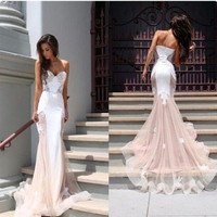 2015 New Arrival Sexy Sweetheart Mermaid Long Backless Lace Evening Dresses LL-0012 = 5739053057