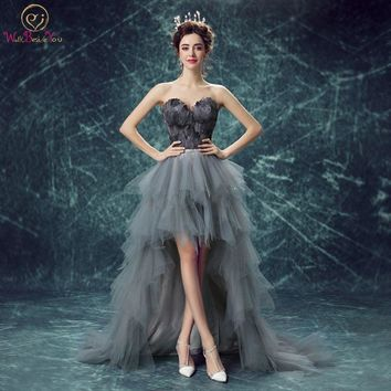 Feather Evening Dresses with Crystals Gray Short Front Long Back Prom Evening Gown