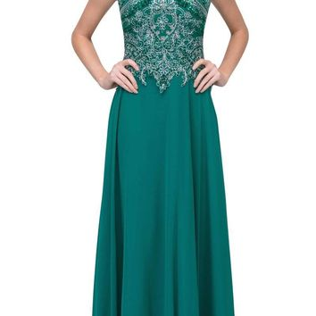 Hunter Green Appliqued Long Formal Dress High Neckline