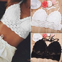 Happylife12 Women Sexy Bikini Crochet Crop Tops Camisole Knitted Swimwear Tops