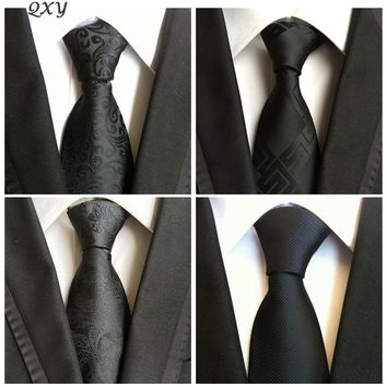 QXY Men's Formal Fashion Black Neckties For Formal Business Dress and Events