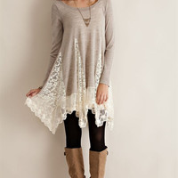 Bottom Lace Sweater Tunic - Sand