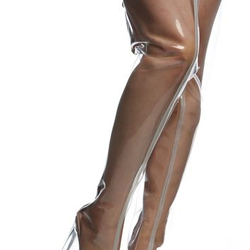 Clear Vinyl Peep Toe Thigh High Translucent Boots @ Cicihot Boots Catalog:women's winter boots,leather thigh high boots,black platform knee high boots,over the knee boots,Go Go boots,cowgirl boots,gladiator boots,womens dress boots,skirt boots.
