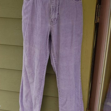 Vintage 80s 90s Lavender Pastel Purple Express High Waisted Corduroy Pants Jeans Cords Size 9/10