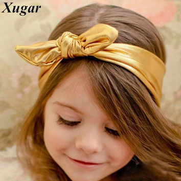 Hot Sale Rabbit Bunny Ear Headband Solid Lovely Headbands For Baby Girls Cute Leather Head Band Hair Accessories