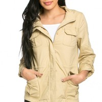 Classic Dual Chest Pocket Utility Jacket in Beige