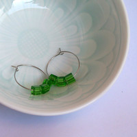 Clover Green Glass Cube Bead And Stainless Steel Hoop Earrings Perfect For St Patrick's Day SRAJD
