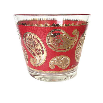 Culver Paisley Ice Bucket, Rare, Red and Gold, 1960s, Mid-Century Barware