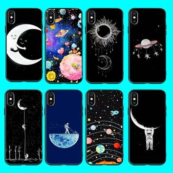 Cartoon Outer Space Case For iphone 6s Moon Tumblr Astronaut Sil 1c57c4000b76