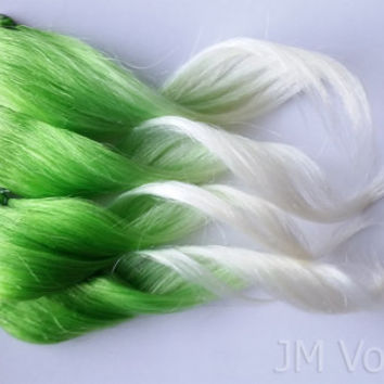 Prairie Cloud Ombre 100% Human Hair Extensions Dip Dyed Clip In Neon Vibrant Green and White Blonde Tip Hair