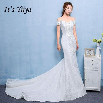 It's Yiiya 2017 Lace Boat Neck Trailing Wedding Dresses Mermaid Train White Bridal Frocks Plus size Vestidos De Novia D209