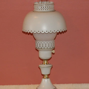 Vintage Tole Lamp Gold and Cream Mid Century Metal Light Decor Student Desk Table Lamp