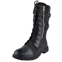 Womens Mid Calf Boots Canvas Lace Up and Zipper Casual Comfort Shoes Black SZ