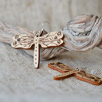 Wooden Dragonfly Earrings - Woodburned Jewelry - Beige Wooden Earrings - Boho Pyrography Jewelry