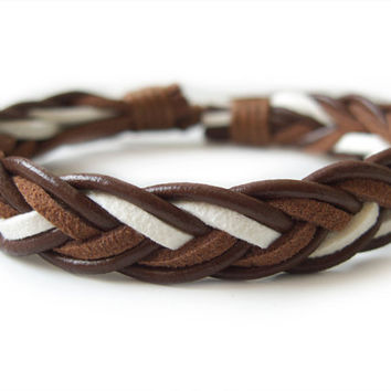 Brown Leather Braided Bracelet with Hemp Cord