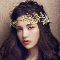 Women 2016 New luxury Pearl Crystal Wedding Headbands Hair Accessories Bride Fashion Bridal Korean Gold Hair Jewelry Tiaras