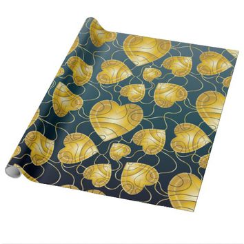 Golden Hearts Pattern Wrapping Paper