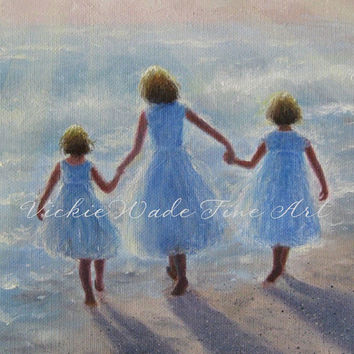 Imagine Three Beach Girls Art Print, three sisters on beach, walking on beach, ocean, paintings, Vickie Wade art
