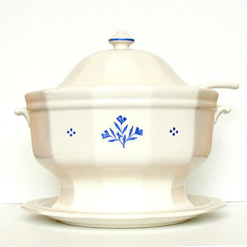 Vintage Soup Tureen Pfaltzgraff Perennial Cottage Complete Lid Ladle Underplate White Blue