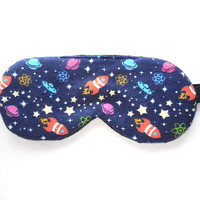 Outer Space Sleep Mask for Girls, Rockets Eye Mask, Woman Pre-teen Present, Eyeshade Gift, Fleece Back, Blindfold, Night Nap Satin Cotton
