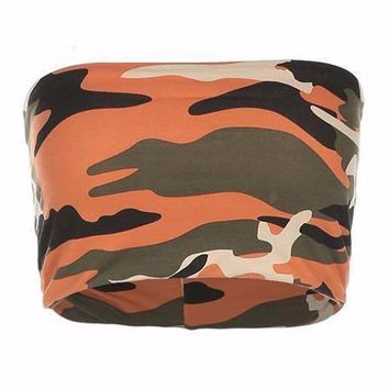 Camo Strapless Bandeau Crop Top
