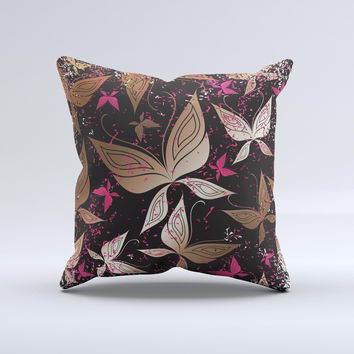 Gold & Pink Abstract Vector Butterflies Ink-Fuzed Decorative Throw Pillow