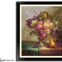 "24"" Classic Fruits Still Life Oil Painting, Great for Kitchen Wall Decor, Paint and Sign by Jim."