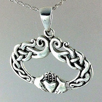 Celtic Claddagh Necklace~Sterling Silver Ornate Claddagh Necklace~Irish Claddagh Silver Unique Oval Pendant