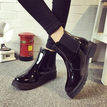 Brand Plus Size 40 Women Ankle Boots Flat Heels Casual Shoes Woman Patent Leather Boot