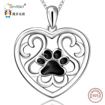 Strollgirl 925 Sterling Silver Dog Paw Pendants & Necklaces For Women Silver Love Heart Pendant Chain Necklace Fashion Jewelry