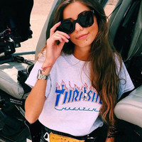 thrasher-blue letters print Short-sleeve T-shirt casual cotton sport bottom shirt youth tee top
