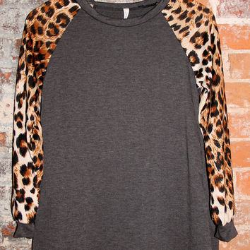 Cheetah Sleeve Baseball Tee