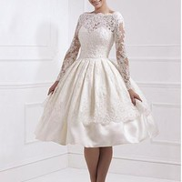 [159.99] Elegant Tulle Natural Waistline Ball Gown Silhouette Wedding Dress with Beaded Lace Appliques - Dressilyme.com