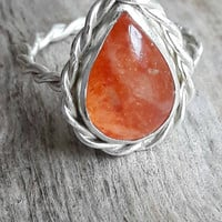 Pear Shaped Sunstone and Twisted Sterling Silver Ring - Sunstone Ring - Statement Ring - Orange Stone Ring - Silver Rope Ring - Gaia's Candy