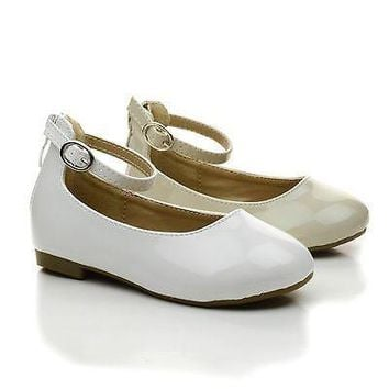 Gloria57KA Beige Patent By Link, Infant Girls Ankle Strap Ballerina Dress Flats