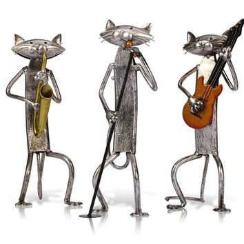 Metal Escultura Sculpture A Playing Guitar/Saxophone/Singing Cat Home Furnishing Articles Handicrafts For Art Home Decor