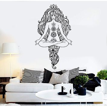 Vinyl Wall Decal Yoga Woman Meditation Hinduism Stickers Unique Gift (ig3890)