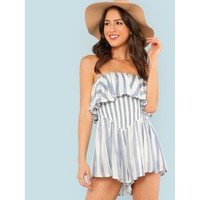 Flounce Layered Striped Strapless Romper