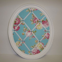 Pink & Yellow Roses on Aqua Blue background fabric ~ Oval Framed French Memo Board