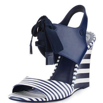 Tory Burch Maritime Striped Wedge Sandal, Blue/White