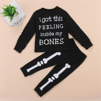 2PCS fashion children's set Toddler Kids Baby Boy Girl Clothes T-shirt+Long Pants Halloween Outfits Set