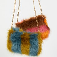 Free People Striped Faux Fur Crossbody