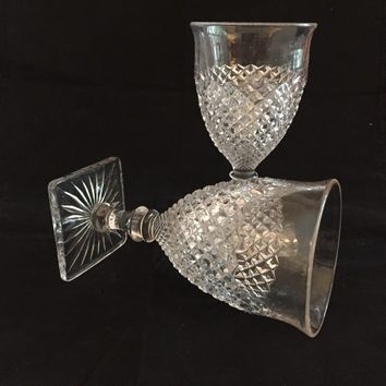 English Hobnail Goblets, Pair of Clear Glass Diamond Point Wine Glasses, Westmoreland, Water Goblets